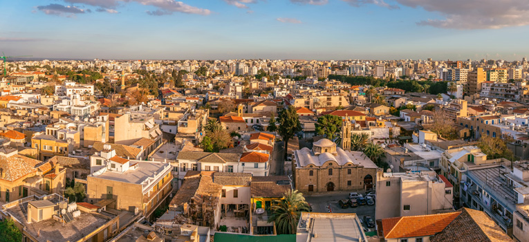 Ariel shot of town in Nicosia to showcase the range of properties