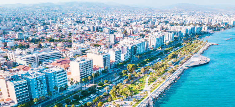 Aerial View of Molos Promenade on the Coast of Limassol City in Cyprus