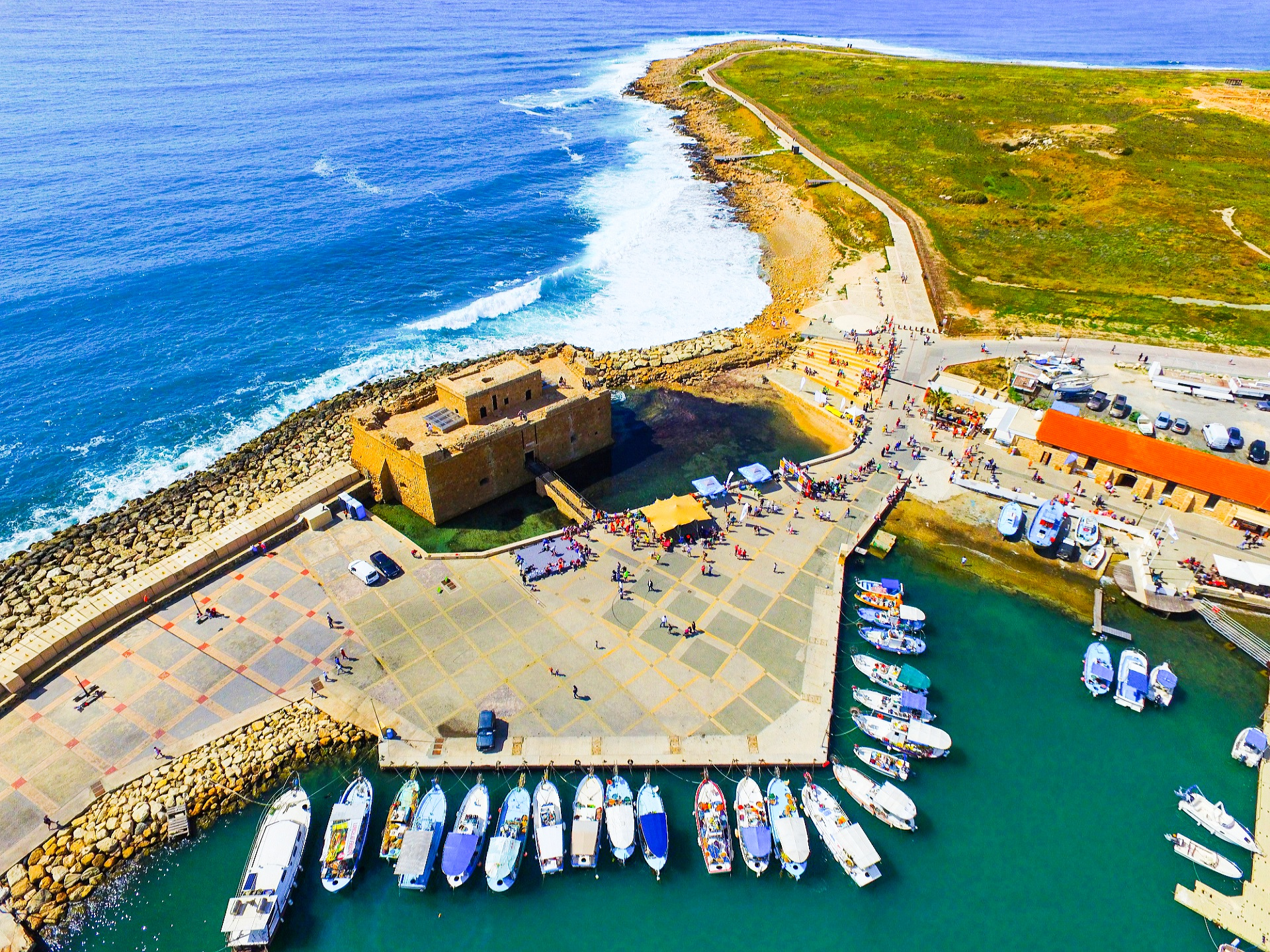 Ariel shot of Paphos Castle with