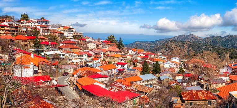 Ariel view of Pedoulas village in the Troodos mountains, Lefkosia, Nicosia district