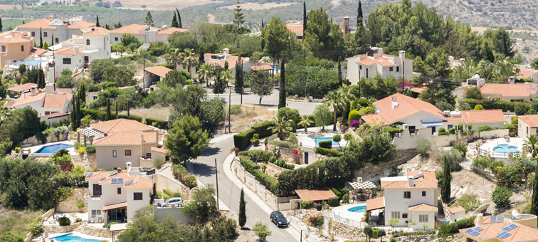 Ariel view of town in Cyprus with properties for sale